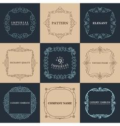 Calligraphic frames set vintage elegant vector image