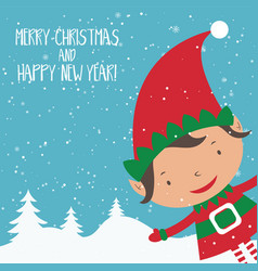 cartoon for holiday theme with elf on winter backg vector image