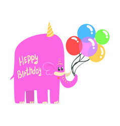cute cartoon pink elephant in an party hat with a vector image