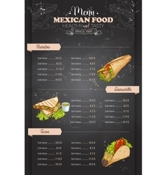 Drawing vertical color mexican food menu vector image vector image