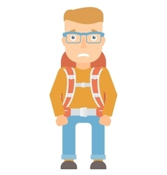 Embarrassed tourist with backpack vector