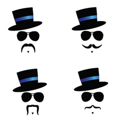 face with mustache and hat blue vector image vector image