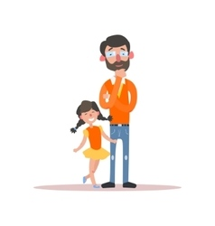 Father wearing glasses and little daughter vector