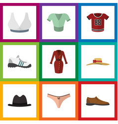 Flat dress set of sneakers lingerie casual and vector