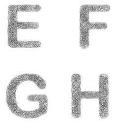 Furry sketch font set - letters e f g h vector