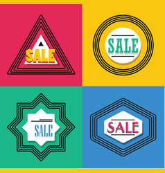 geometrical line shapes sale emblems icons set vector image