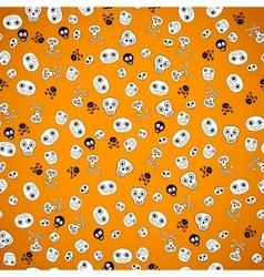 Halloween seamless bright skull doodle pattern vector