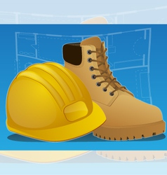 Hardhat and work boots vector