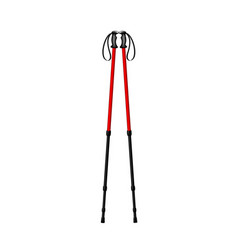 Hiking trekking poles in red and black design vector