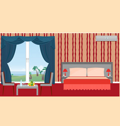 interior of resort hotel room with furniture vector image