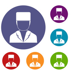 Medical doctor icons set vector