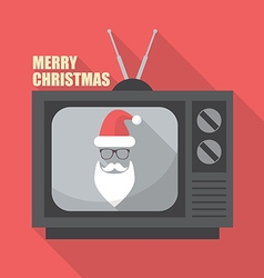 Mustache and Glasses of Santa in Retro Television vector image vector image
