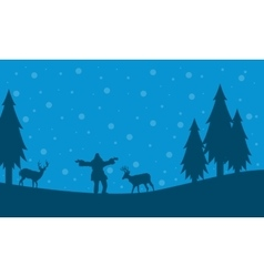 People and deer on the hill christmas scenery vector