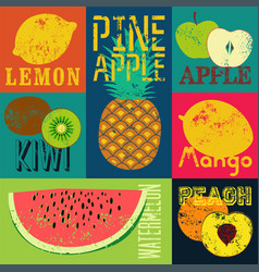 pop art grunge retro fruit poster set of fruits vector image