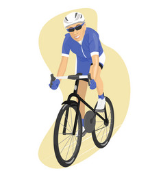 Road cyclist in blue jersey vector