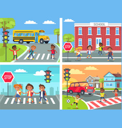 schoolchildren cross road on pedestrian crossing vector image