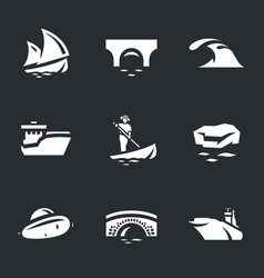 set of water and transport icons vector image