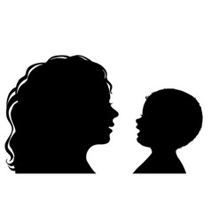 silhouette mother and baby vector image vector image