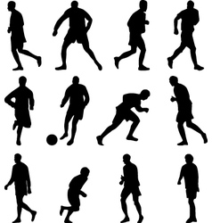 Soccer player collection silhouette vector