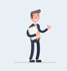 standing business man holding certificate or vector image vector image