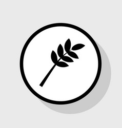 Tree branch sign flat black icon in white vector