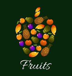 Tropical fruits in a shape of apple icon vector