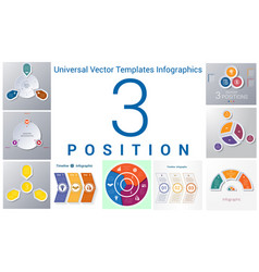 universal templates set infographics 3 positions vector image vector image