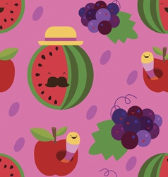 Water-melon and grapes seamless pattern vector
