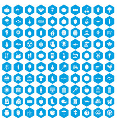 100 vitamins icons set blue vector