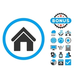 Home flat icon with bonus vector