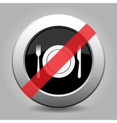 Gray chrome button - no fork and knife with plate vector