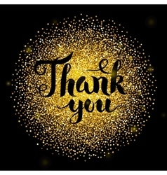 Thank You Lettering over Gold vector image