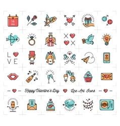 Colorful valentine icons flat design line thin vector
