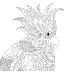 Exotic tropical zentangle cockatoo parrot for vector