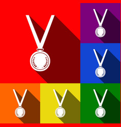 Medal simple sign  set of icons with flat vector
