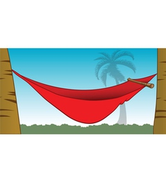 Red hammock between palm trees vector