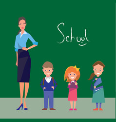 Teacher and three students of primary grades vector