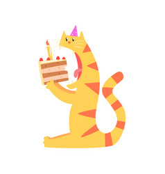 Cute cartoon tiger biting piece of cake happy vector