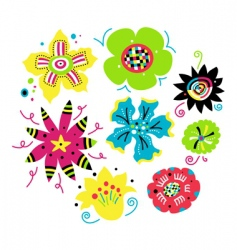 Set of funky flowers vector
