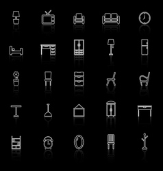 Furniture line icons with reflect on black vector