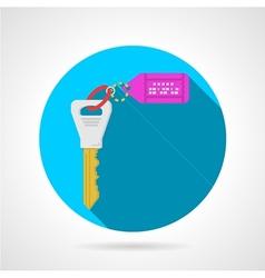 Blue flat icon for key with label vector