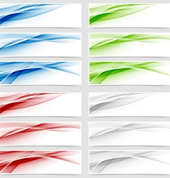 Bright colorful wave header collection vector