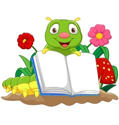 Cartoon cute caterpillar holding book vector