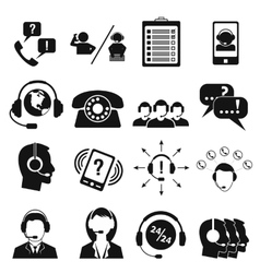 Call center service icons set vector image