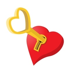 Heart-shaped padlock with key cartoon icon vector