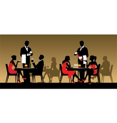 Silhouettes of people in a restaurant vector