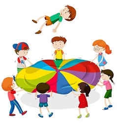 Kids playing bouncing on the mat vector