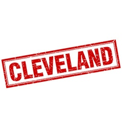 Cleveland red square grunge stamp on white vector