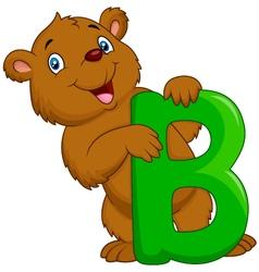 Alphabet b with bear cartoon vector