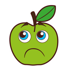 Apple sad kawaii character vector